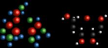 Molécula de glicose e ribose
