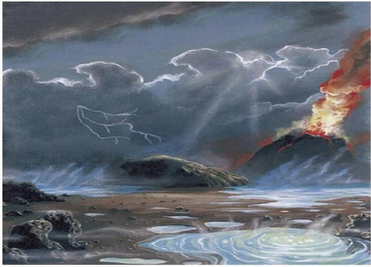 Representação ilustrativa da Terra primitiva com muitos raios e erupções vulcânicas