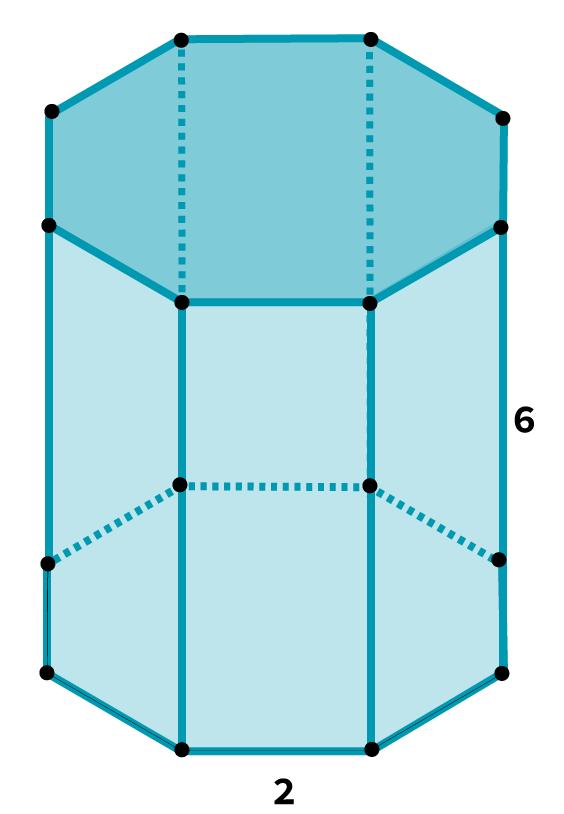 Desenho de um prisma octogonal com Indicação do comprimento e altura de suas faces.