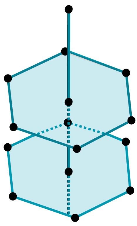 Desenho de duas bases hexagonais dispostas uma sobre a outra.