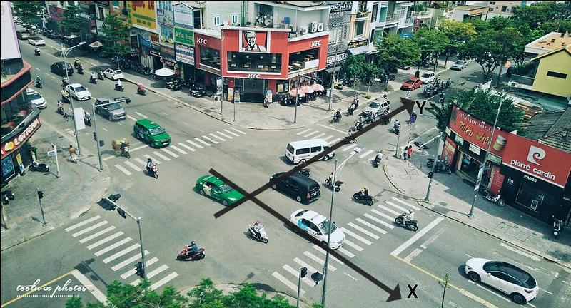 Veículos em um cruzamento.