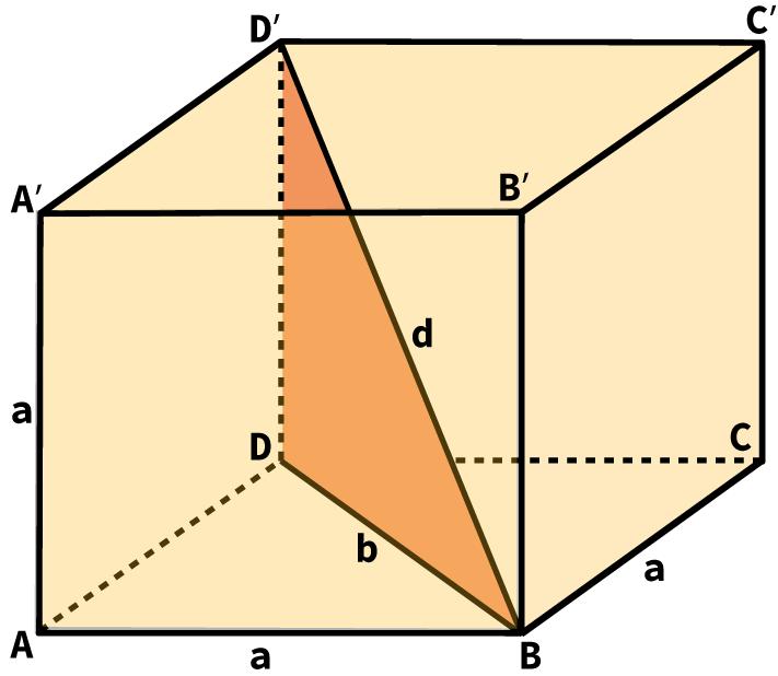 Desenho de um cubo com indicação de seu comprimento, altura, largura e diagonal.