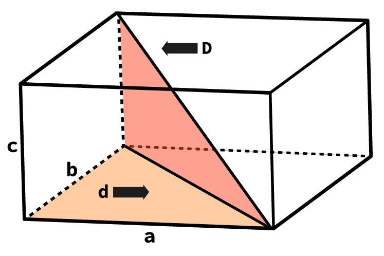 Desenho de um paralelepípedo com indicação de seu comprimento, altura, largura e diagonal.