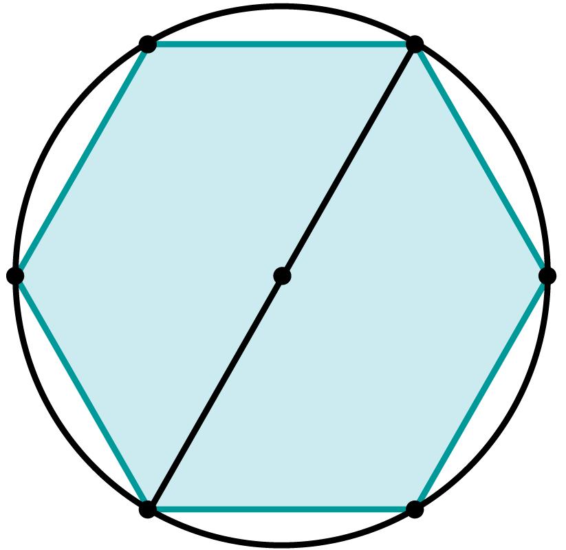Desenho de um hexágono inscrito em uma circunferência.