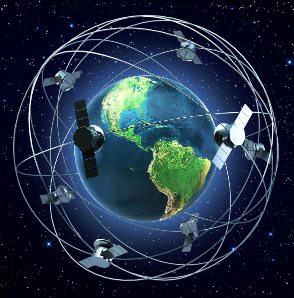 Representação de satélites em órbitas ao redor do globo terrestre.