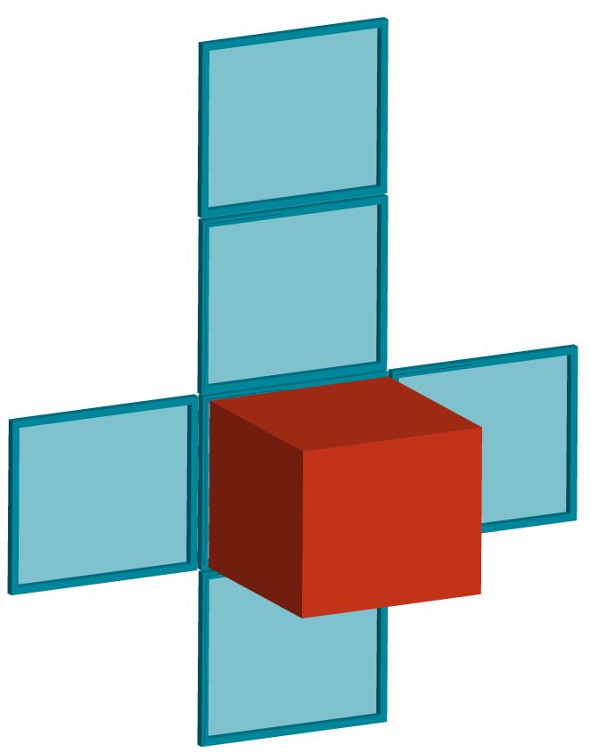 Desenho de um cubo com sua planificação.