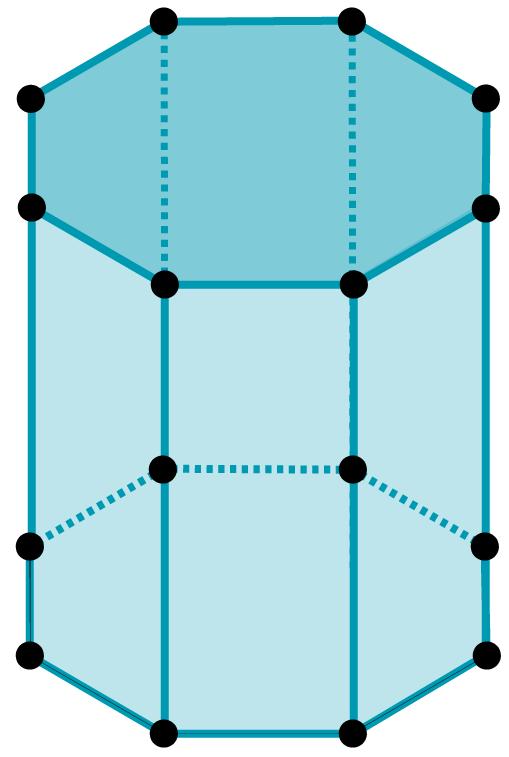 Desenho de um prisma octogonal.