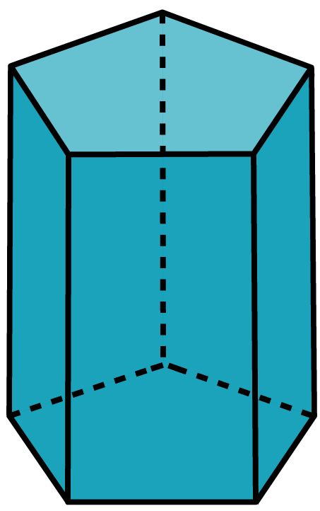 Desenho de um prisma reto pentagonal