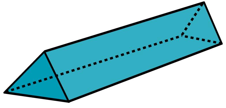Desenho de um prisma triangular.