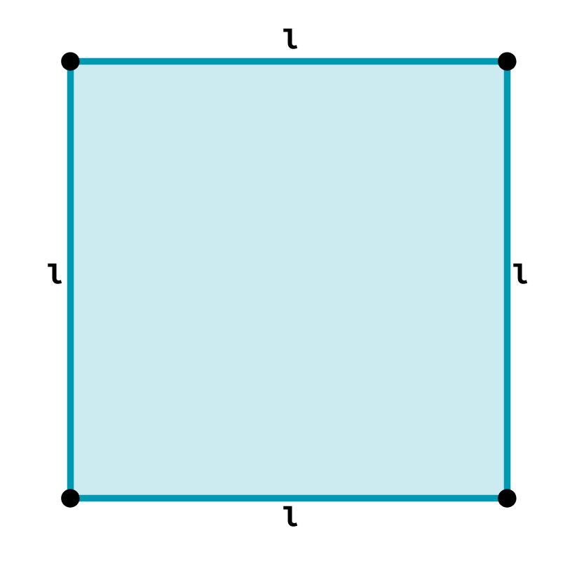 Desenho de um quadrado com indicação do tamanho do lado.