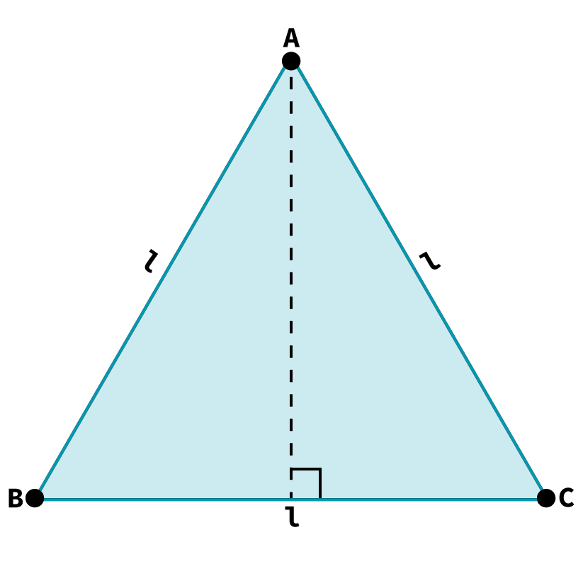 Desenho de um triângulo equilátero com indicação de seus vértice e tamanho do lado.
