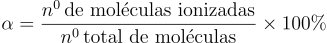 Fórmula do grau de ionização