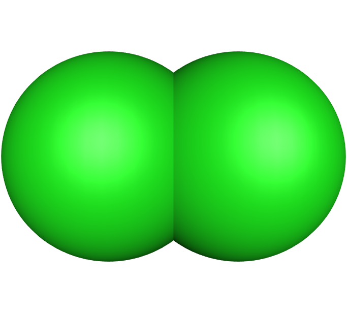 Representação da molécula de cloro com suas ligações e esferas de Van der Waals