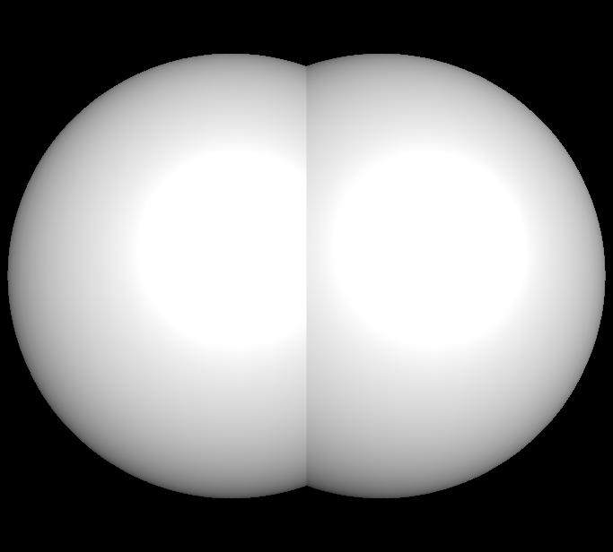 Representação da molécula de hidrogênio com suas ligações e esferas de Van der Waals