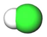 Representação da molécula de HCl com suas ligações e esferas de Van der Waals