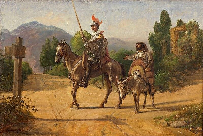 Pintura de Dom Quixote e Sancho Pança