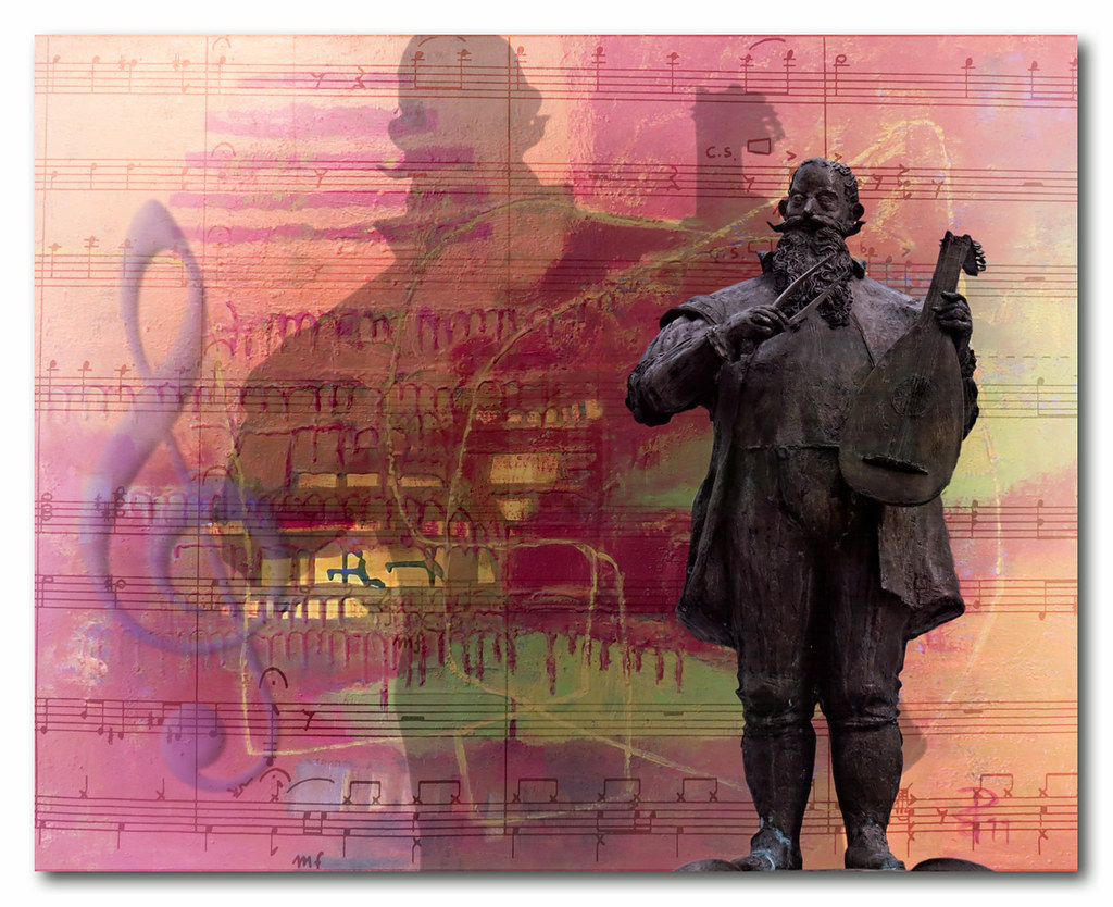 Estátua de um trovador sobre um fundo de partituras