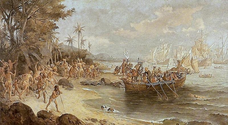 Pintura do desembarque de Pedro Álvares de Cabral em Porto Seguro em 1500