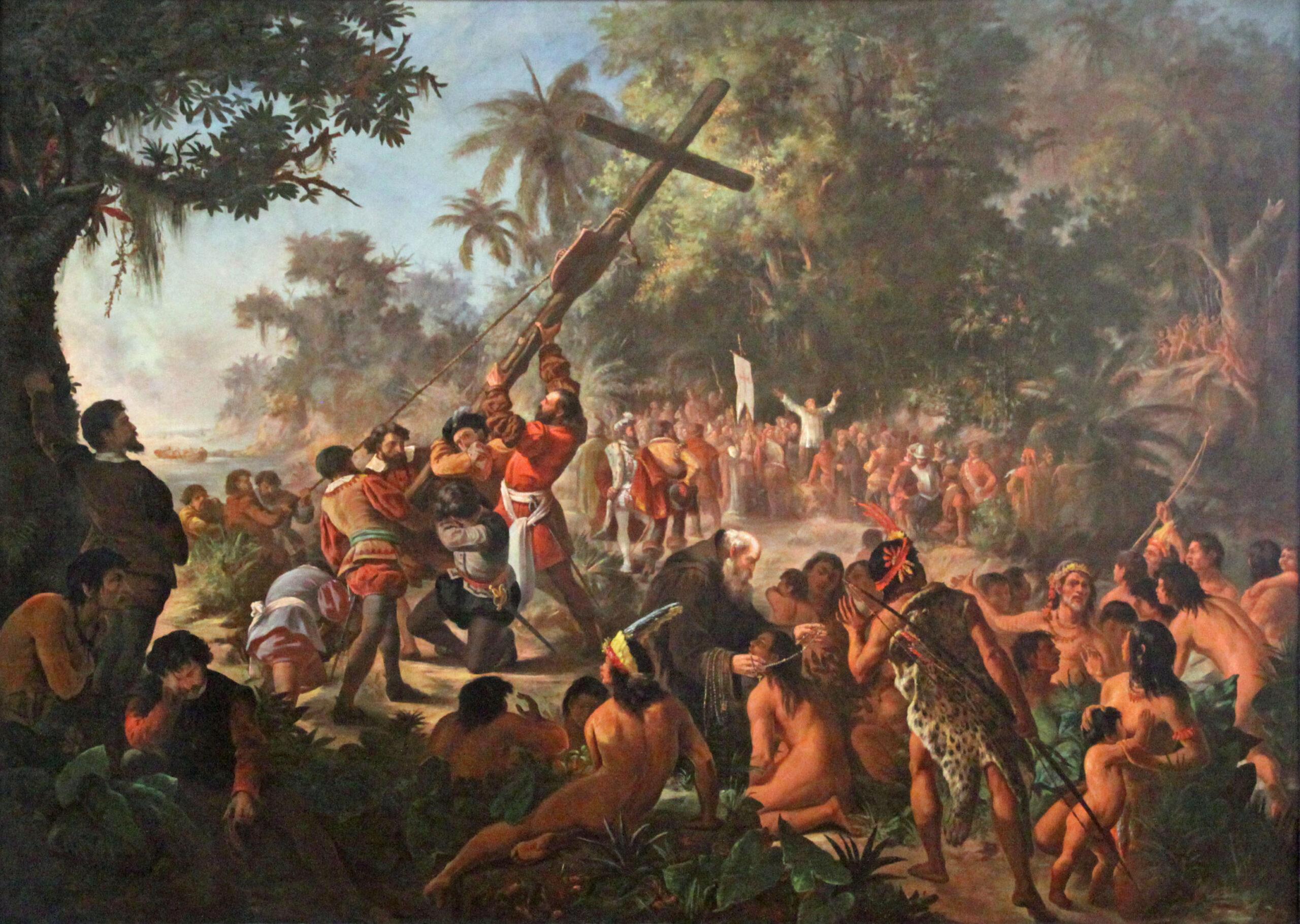 Pintura A elevação da Cruz em Porto Seguro 1879. Museu Nacional de Belas Artes