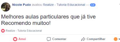 Avaliação facebook - Nicole Pudo