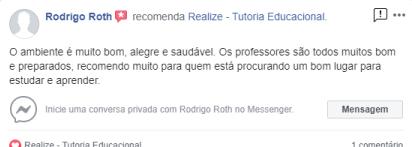 Avaliação facebook - Rodrigo Roth
