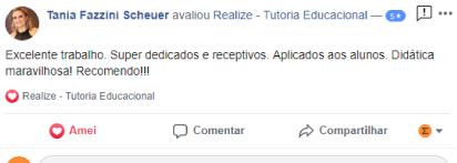 Avaliação facebook - Tania Fazzini