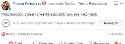 Avaliação facebook - Thayna Fernandes